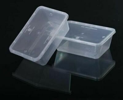 TAKE AWAY CONTAINERS & LIDS DISPOSABLE PLASTIC FOOD CONTAINER 750ml- X30/PACK AU