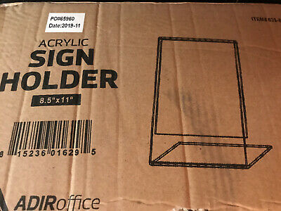 "AdirOffice Plexi Acrylic 8.5"" X 11"" Single Slant Back Design Sign Holder Qty 36"