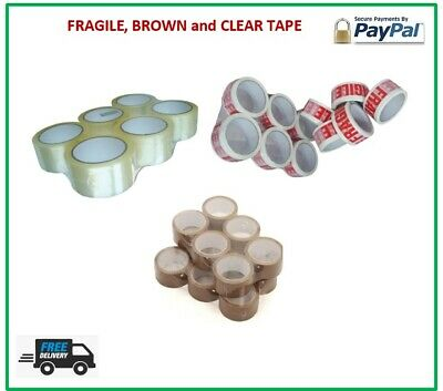 LONG LENGTH TAPE STRONG CLEAR / BROWN / FRAGILE 48mm x 66M PACKING PARCELTAPE