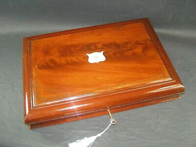 Antique Flame Mahogany A4 Document Box Working Lock & Key c1870  Brass Center