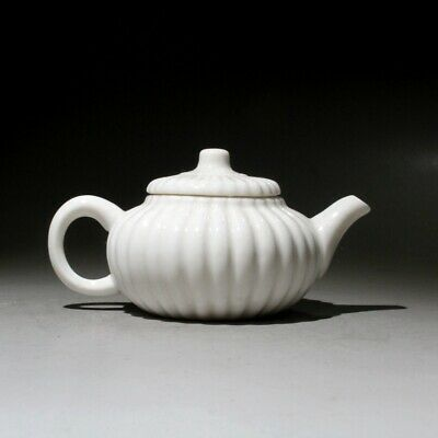 Collect China White Glazed Porcelain Carve Delicate Interesting Royal Tea Pot