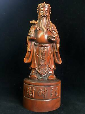 Collectable China Old Boxwood Hand-Carved Auspicious Mammon Bring Wealth Statue