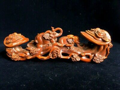 Collectable Chinese Old Boxwood Hand-Carved Elephant Auspicious Delicate Statue