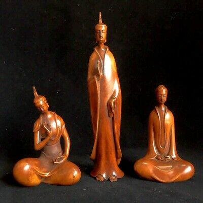Collect China Old Boxwood Hand-Carved One Buddha And Two Disciples Unique Statue