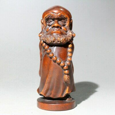 Collectable China Old Boxwood Hand-Carved Bodhidharma Auspicious Delicate Statue