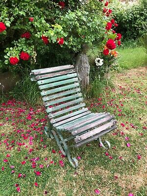 Antique Victorian Cast Iron & wood garden seat heavy sturdy no rot, lovely chair