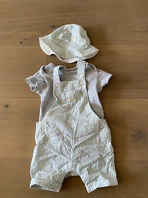 Marks And Spencer Baby Boy Striped Dungarees And Hat Set - Worn Once 0-3 Months