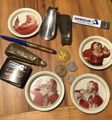 Vintage Junk Drawer-Lighter-Coca Cola Trays-coins-knife-Planters