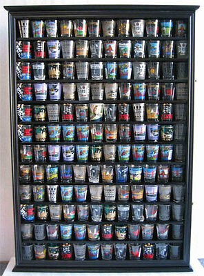 144 Shot Glass Display Case Wall Rack Cabinet Shadow Box LOCKABLE SC16L-BLA