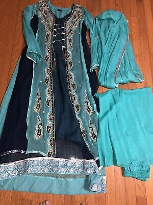Dhanka Blue and Turquoise designer suit