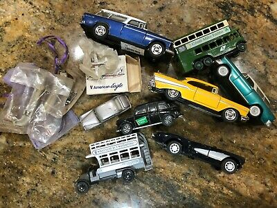 Junk Drawer Lot of 9 Small Metal Toy Cars and Buses and Plane and other crap