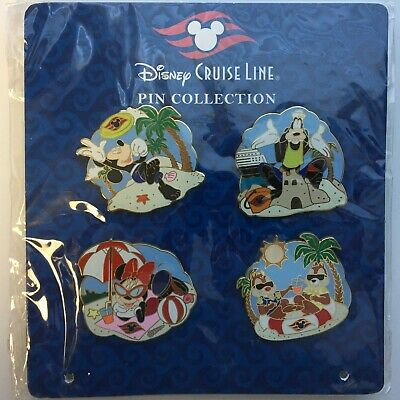 DCL Booster Pack - Mickey Goofy Minnie Chip & Dale on the Beach Disney Pin 74003