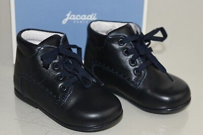 NEW Jacadi Frimousse Kids Baby Girl Boy Boots Dark Navy Leather Lace Up Shoes 21