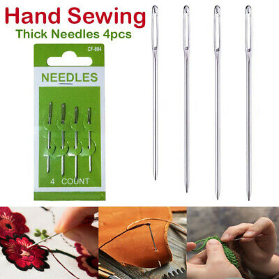4x Hand Sewing Needles Assorted Embroidery Thick Big Eye Sewing Stitching UK