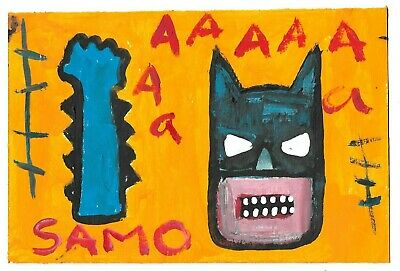 JEAN MICHEL BASQUIAT   SAMO POSTCARD  drawing Batman
