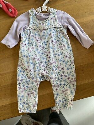 Mark And Spencer Baby Girls Dungaree And Bodysuit Set Up To 1 Month