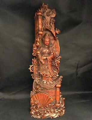 Collectable Chinese Ancient Boxwood Hand-Carved Exorcism Noble Kwan-yin Statue