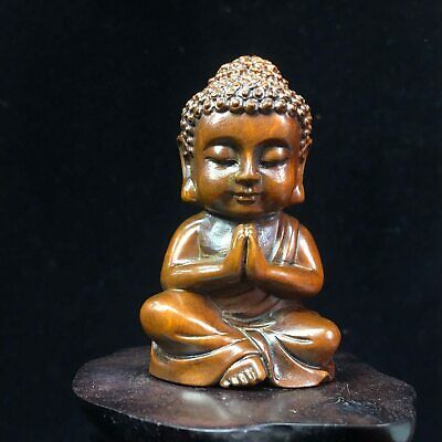 Collect China Old Boxwood Hand-Carved Such As Come The Lad Cute Delicate Statue
