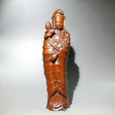 Collect Chinese Old Boxwood Hand-Carved Bamboo Joint Kwan-yin Auspicious Statue