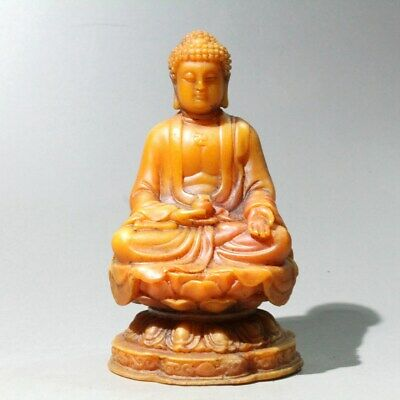 Collectable China Old Shoushan Ston Hand-Carved Buddha Auspicious Unique Statue
