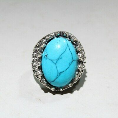 Collectable China Old Miao Silver Turquoise Carve Unique Auspicious Noble Ring