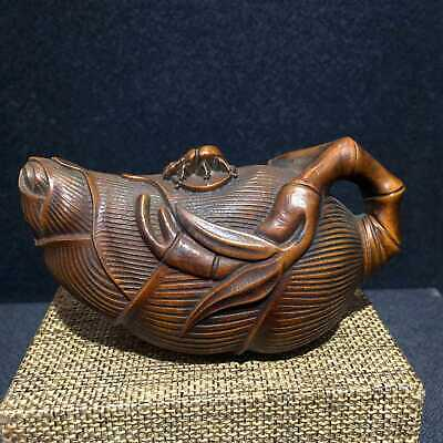 Collectable Chinese Ancient Boxwood Hand-Carved Unique Corn Auspicious Pot Satue