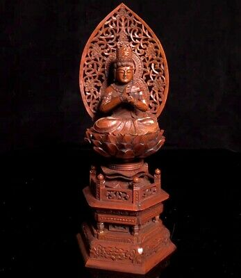 Collect China Ancient Boxwood Hand-Carve Delicate Buddha Bring Auspicious Statue