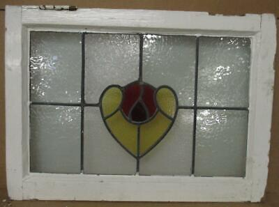 """OLD ENGLISH LEADED STAINED GLASS WINDOW Simple Rose & Heart Design 23.75"""" x 17"""""""