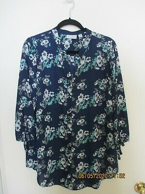 Joan Rivers Floral Print Tunic Top with Bow Sleeves C8- Size 12