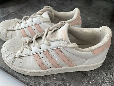 Girls Pink/White Adidas Trainers Size 2