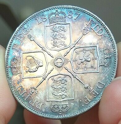 UK  DOUBLE FLORIN 1887 VICTORIA *** UNC OR PROOF-LIKE *** BLUE-RAINBOW TONE * m3