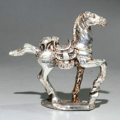 Collectable Chinese Old Miao Silver Hand-Carved Horse Delicate Auspicious Statue