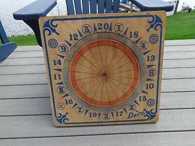 Vintage Deco Wooden Two Sided Dart Board