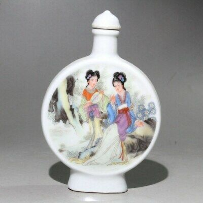 Collectable China Old Porcelain Handwork Carve Ancient Beauty Noble Snuff Bottle