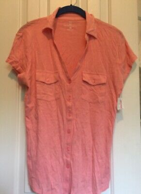 Women's Newyork & Company Short Sleeve Pink Top Size Medium New With Tags