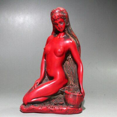 Collectable Chinese Red Coral  Hand-Carved Beautiful Girl Delicate Unique Statue