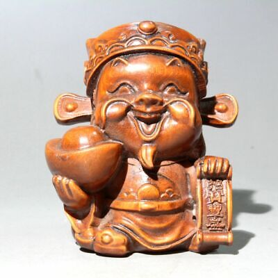 Collectable China Old Boxwood Hand-Carved Mammon Bring Wealth Auspicious Statue