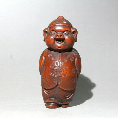 Collectable China Old Boxwood Handwork Carve Delicate Pig Auspicious Chic Statue