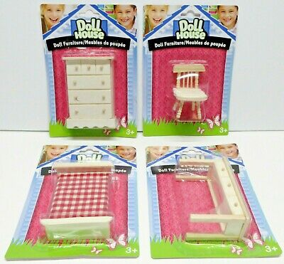 """""""DOLL HOUSE"""" BRAND WOOD DOLL FURNITURE / LOT OF 4 NEW IN PACKAGE / (lot 1)"""