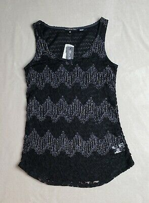 NWT Women's - Miss Me Black Lace Tank, Size Medium