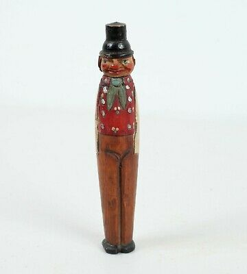 Antique Hand Carved Painted Wooden Clown Pencil Needle ?  Case Folk Art