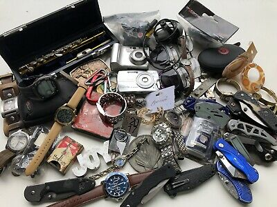 Junk Drawer Lot 1A Watches Jewelry, Knives, More