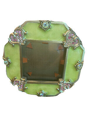 """jay strongwater Octagon 3"""" Frame With Hearts And Swarovski Crystals"""