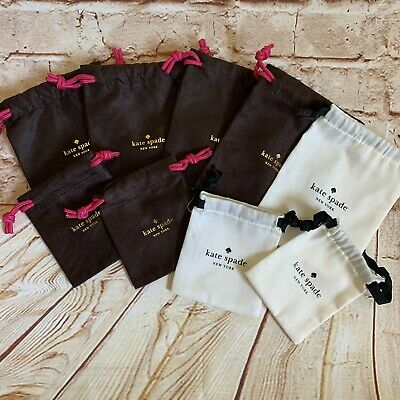 Lot of 9 Assorted Kate Spade Jewelry Drawstring Dust Bags New & Unused