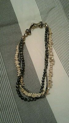 """Beaded Necklace 2 Color Multistrand Jasper Beads 20"""". Large Silver Closure"""