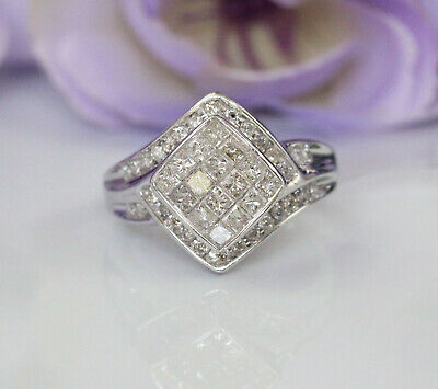 Gorgeous 10K White Gold 1 ct Natural Diamonds Invisible Setting Engagement Ring