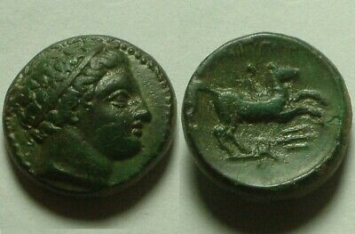 Genuine Ancient Greek Coin Philip II father of Alexander Olympic rider Macedonia