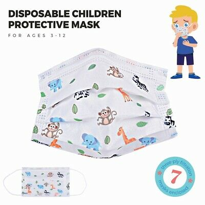 Child Toddler 7 Pk Protective Disposable Face Mask 3 Ply Ear Loop Non-Medical