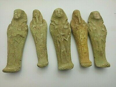 5 RARE ANCIENT EGYPTIAN ANTIQUE Shabti Ushabti Statues Lime-Stone 1459-1245 BC