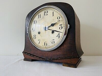 Vintage Enfield Art Deco Wooden 8 Day Westminster Chiming Winding Mantle Clock